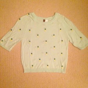 Pineapple embroidered H&M sweater and pineapple t